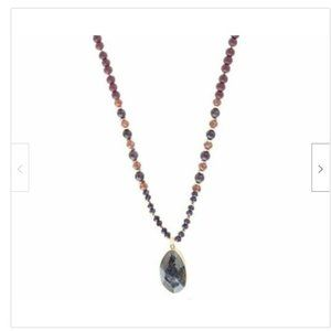 Long Gray Natural Stone Pendant Beaded Necklace
